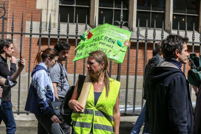 Une manifestante «gilet jaune» lors d'une mobilisation à Toulouse le 25 mai 2019. © Frédéric Scheiber / Hans Lucas / Hans Lucas via AFP
