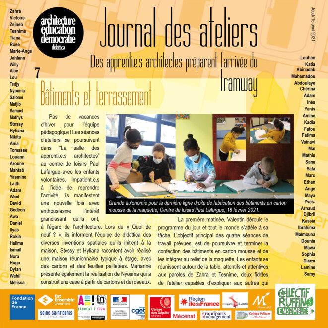 Couverture du numéro 7 du Journal des ateliers © association didattica