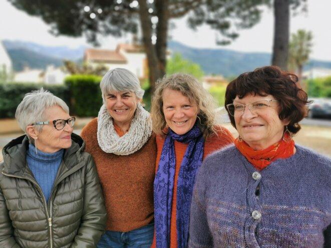 Auriane, Michèle, Béatrice et Nicole, à l'origine du projet de reprise de la librairie de Céret en société coopérative. © AF