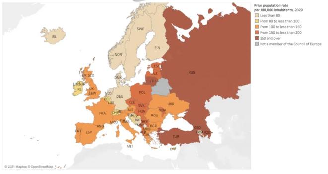 Nombre de détenus pour 100 000 habitants dans les pays du Conseil de l'Europe © SPACE I