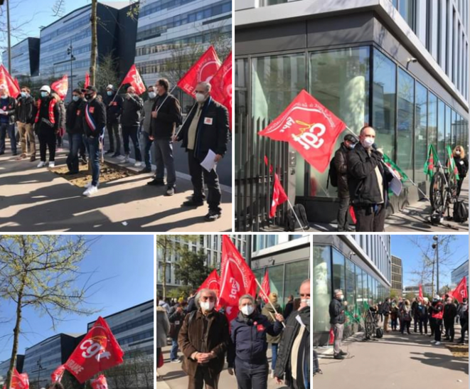 Meeting devant Altice Campus à Paris lors du debrayage du 12 avril 2021 © CgtSfr
