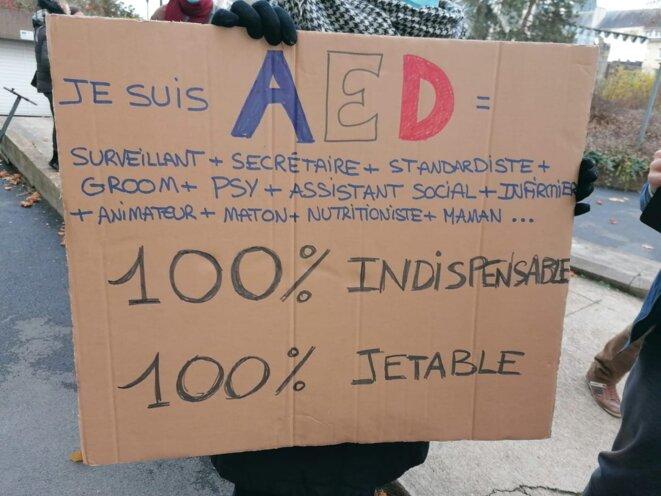 Une manifestante tenant une pancarte lors d'une manifestation des AEd, à Chartres
