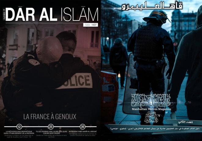 Les organes de propagande djihadistes ciblent régulièrement la police française dans leurs publications. © DR