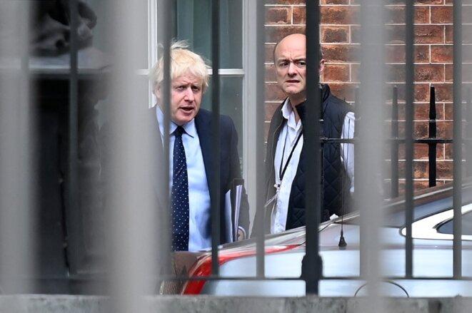 Boris Johnson et Dominic Cummings le 3 septembre 2019 à Londres. © Daniel Leal-Olivas/AFP