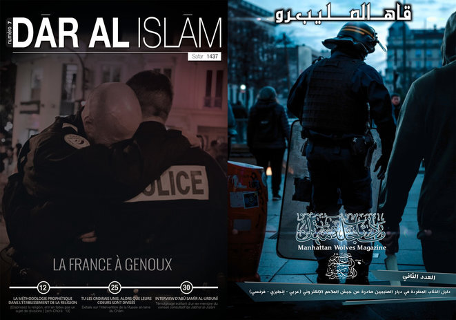 Jihadist propaganda publications often target the French police. © DR