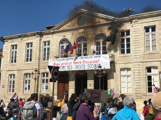 Manifestation du 23 avril à Auch, à l'appel des Occupants de Circa/Ciné 32, de la CGT, de la FSU et de Sud/Solidaires contre la réforme de l'assurance chômage [Ph. YF]
