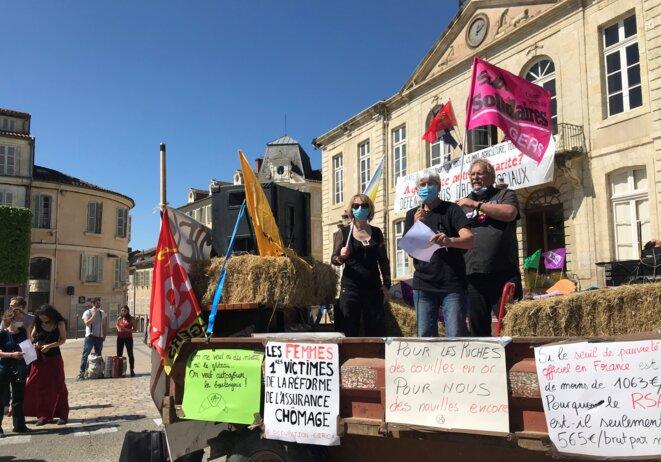 Auch, le 23 avril, Sylvie Colas, de la Confédération Paysanne, au micro [Photo YF]