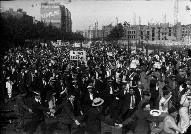 Février 1934, manifestation contre l'extrême droite