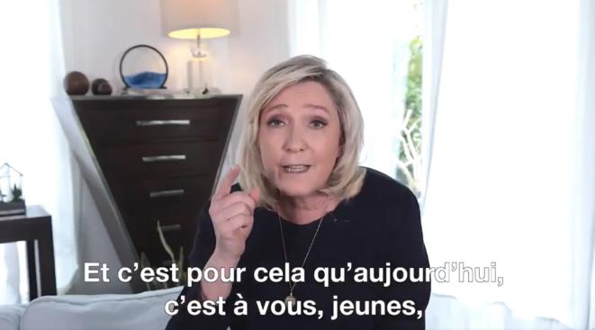 La présidente du RN en «meeting numérique», ce 1er mai 2021. © Tweeter Marine Le Pen