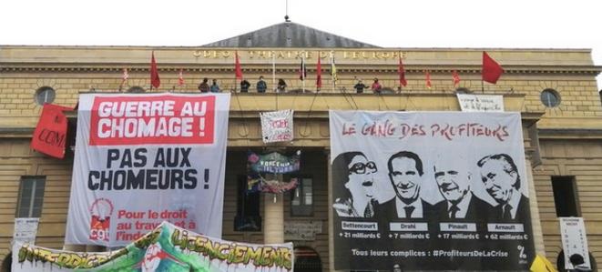 Le théâtre de l'Odéon, le 1er mai 2021, occupé depuis presque deux mois. © DI