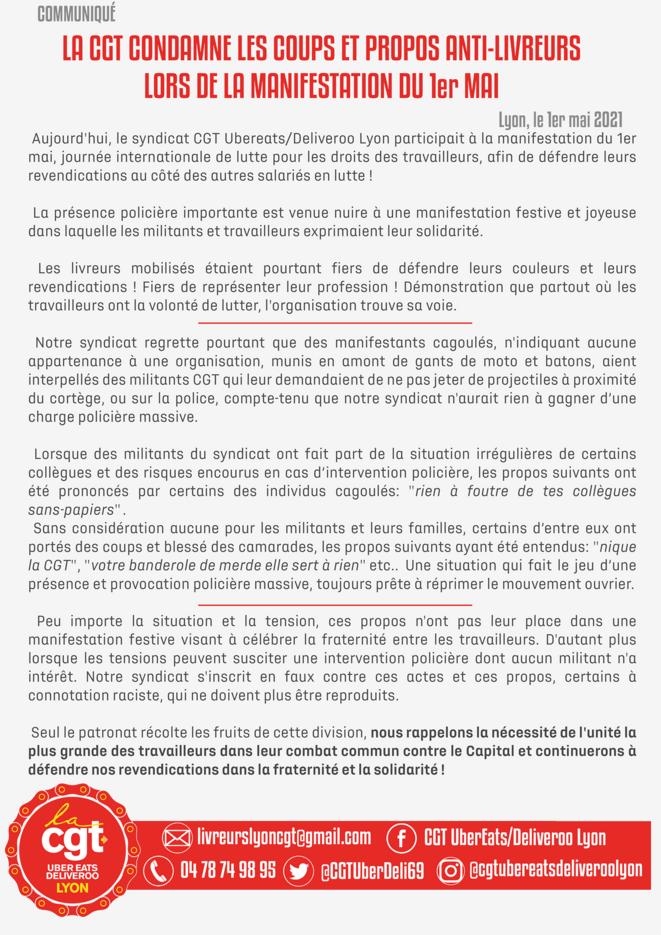 Communiqué CGT Uber-Eats Lyon du 1e mai 2021