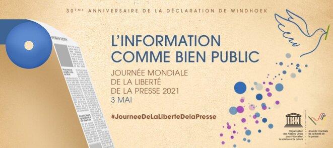 """Logo - UNESCO - Journée de la liberté de la presse, 3 mai 2021 – Thème : """"L'information comme bien public"""""""