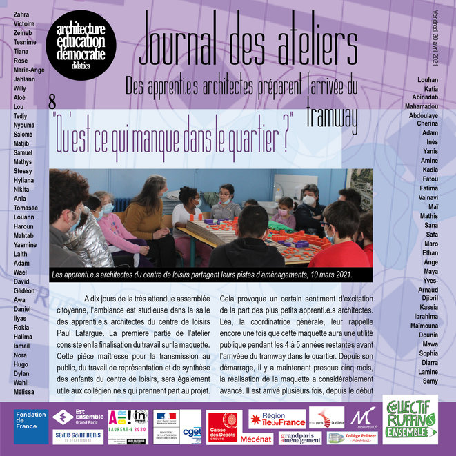 Couverture du numéro 8 du Journal des ateliers © association didattica
