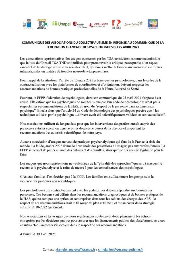 Communiqué Collectif Autisme 30 avril 2021