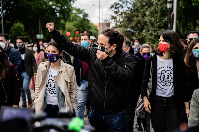 Pablo Iglesias el 1 de mayo de 2021 en Madrid. © Jon Imanol Reino/NurPhoto vía AFP