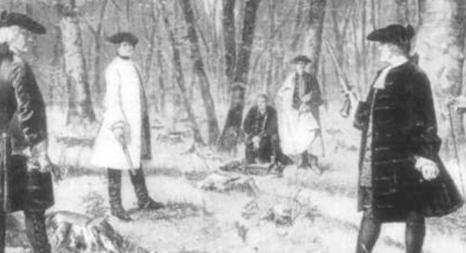 Représentation artistique contemporaine du duel, d'après une peinture de J. Mund. — © Project Gutenberg eBook/Fr.wikipedia.org
