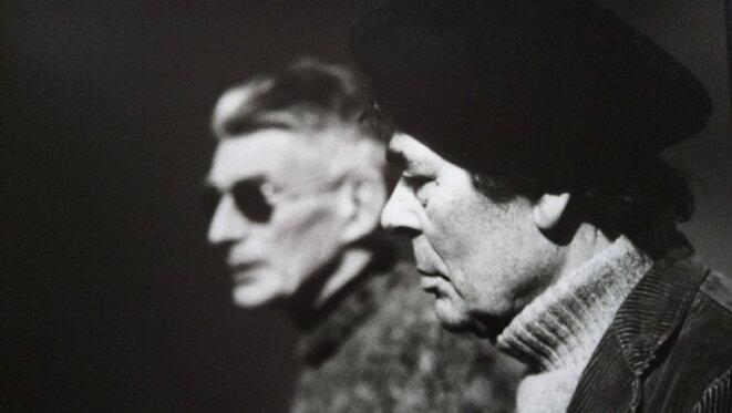 """Blin et Beckkett pendant les répétitions d'""""En attendant Godot"""" lors de la repris au Théâtre de l'Odéon © Hermine Karagheuz"""