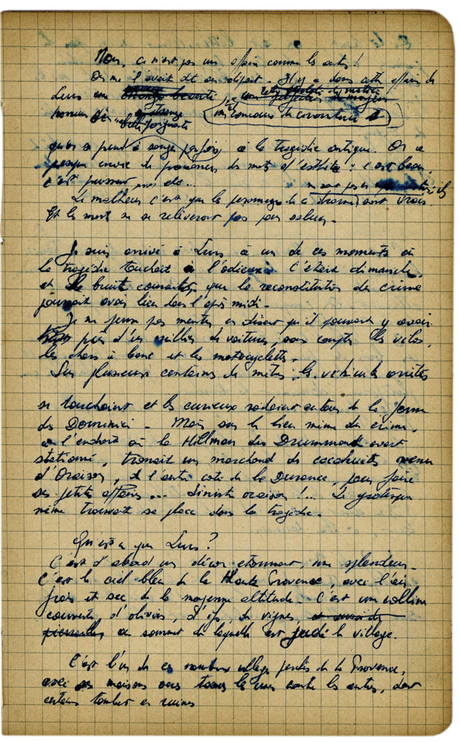 A page from the notebook in which Jean Meckert wrote his article on the Dominici family '15 mois sous la loi du silence, à la Grand-Terre'.