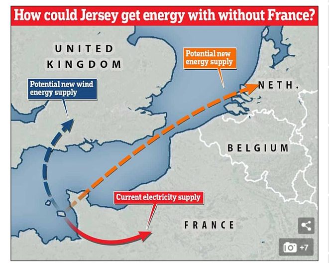 Le « Daily Mail » de Londres publie une infographie sur les alimentations possibles de Jersey en électricité si la France venait à couper l'alimentation acturelle par câble sous-marin... (© capture d'écran Twitter)