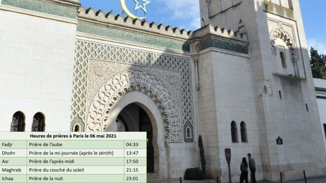 Heure des 5 prière quotidienne à Paris le 06 Mai 2021 © RISSALA