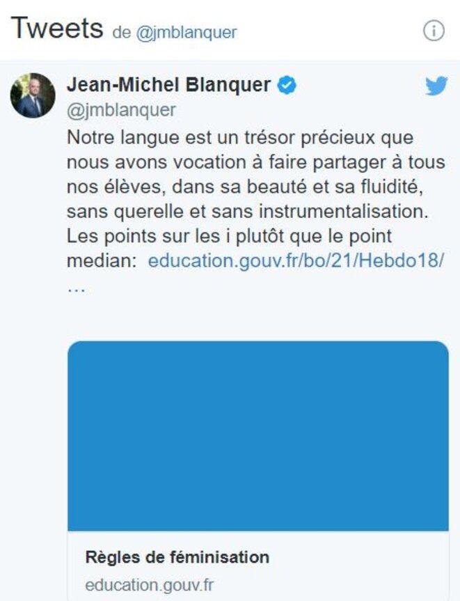 Tweet de Jean-Michel Blanquer le 6 mai 2021