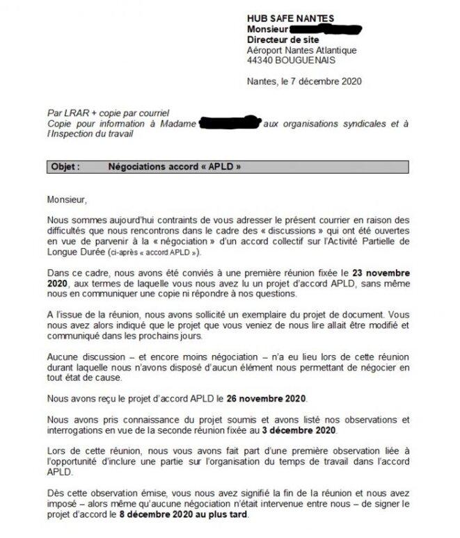 Extrait de la lettre envoyée à Hubsafe par l'avocate des représentants syndicaux des agents de sûreté de l'aéroport de Nantes. © Mediacités Nantes.