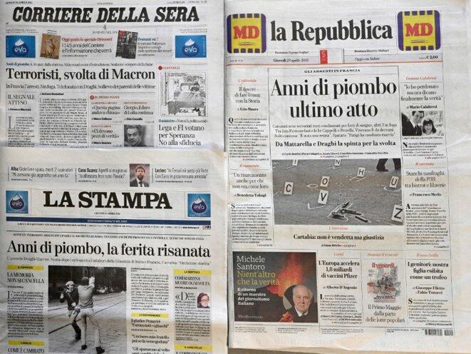 Les unes des journaux italiens au lendemain de l'annonce de l'arrestation des anciens militants. © Vincenzo Pinto/AFP