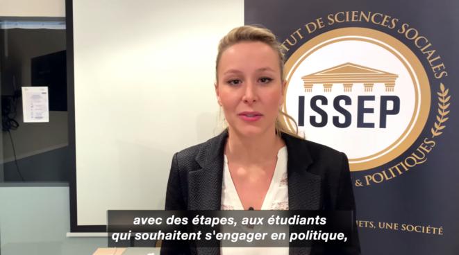 Vidéo de Marion Maréchal à l'ISSEP. © Issep