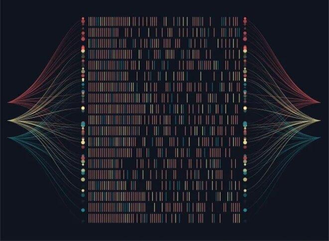 Visualisation d'artiste de données génomiques. © Nobi Prizue Getty Images