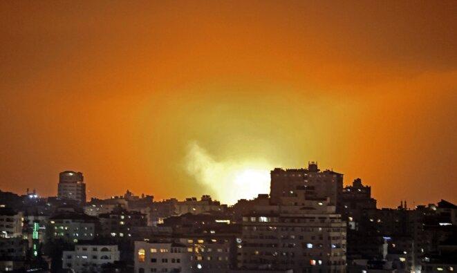Une frappe israélienne à Gaza, lundi 10 mai. © Mahmud Hams / AFP