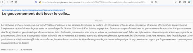 Capture écran article patrimoine subaquatique haïtien © Le Nouvelliste