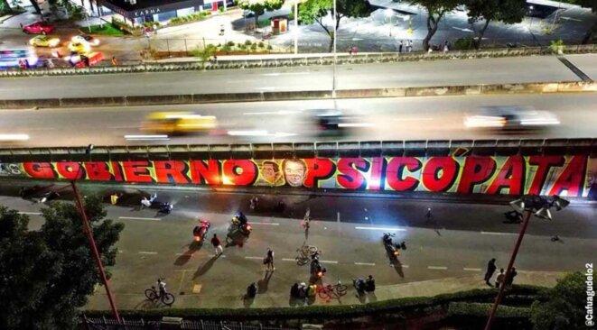 Slogan graffé à Cúcuta dans la nuit du 8 au 9 mai © cafuagudelo2