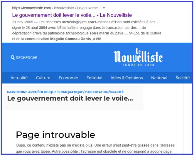 Article introuvable © Caprure d'ecran du site du Nouvelliste