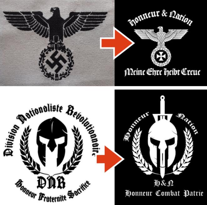 Les références des logos de l'association néonazie Honneur et Nation sont claires. © DR