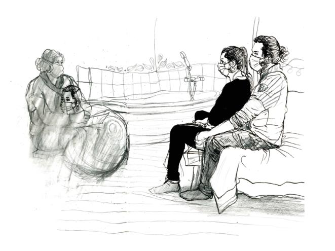 Juliette, Giulia et Charles. © Emmanuel Prost