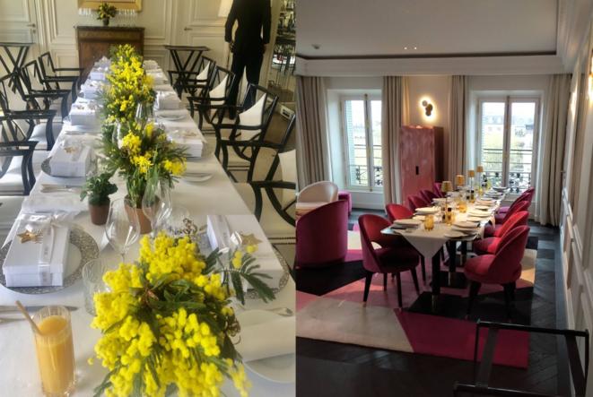 Deux tablées, dans les hôtels La Réserve et Fauchon, pour accueillir plus de dix personnes à déjeuner. © Document Mediapart