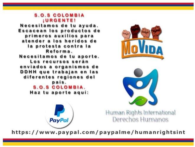 Descriptif de la démarche de soutien à la Colombie © La Movida et Human Rights International