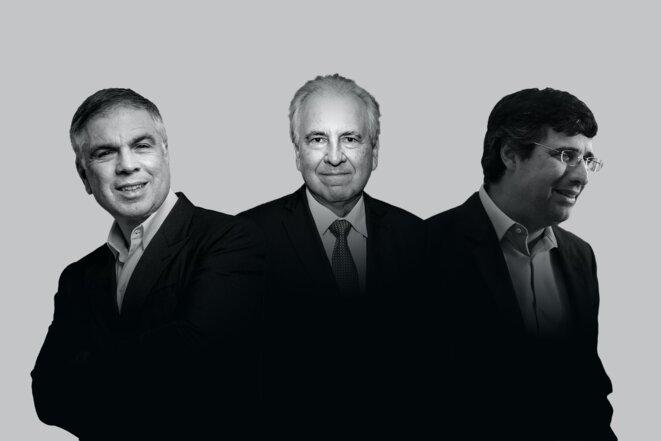 Flávio Rocha (Riachuelo), Rubens Menin (CNN Brasil, MRV Engenharia, Banco Inter), André Esteves (BTG Pactual) © The Intercept Brasil