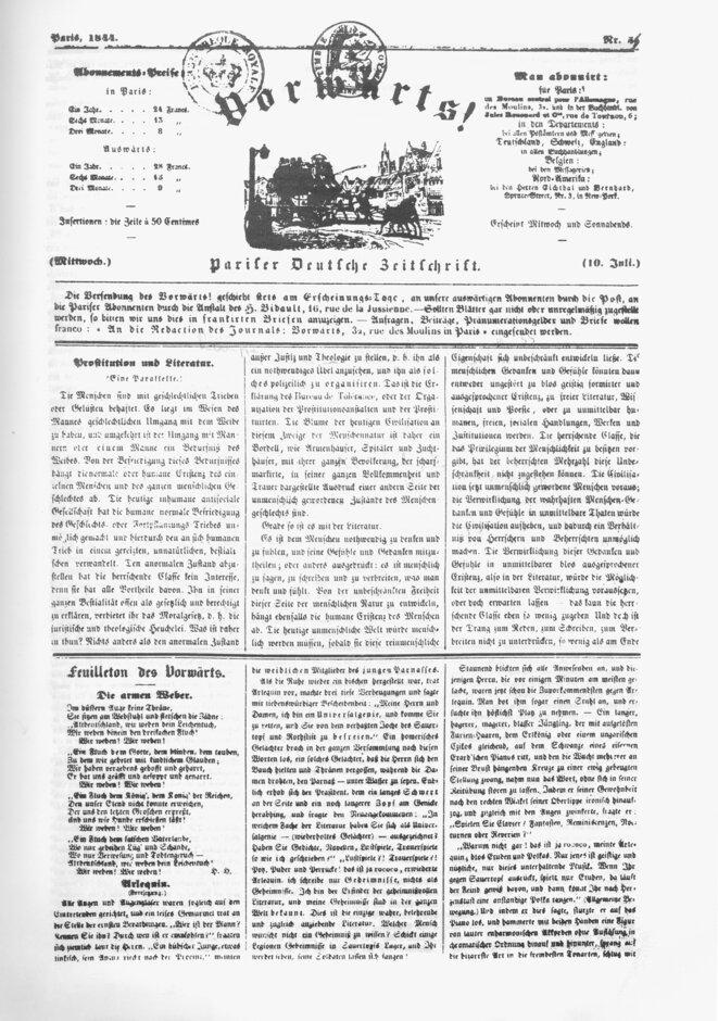 Les Tisserants silésiens - Vorwärts de 1844