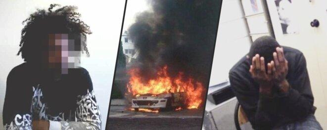 Photo-montage des vidéos de garde à vue de deux suspects de l'affaire de Viry-Châtillon, finalement acquittés. © DR/Mediapart