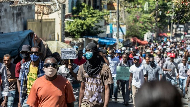 A protest march in Port-au-Prince against President Jovenel Moïse, February 10th 2021. © AFP/Valerie Baeriswyl