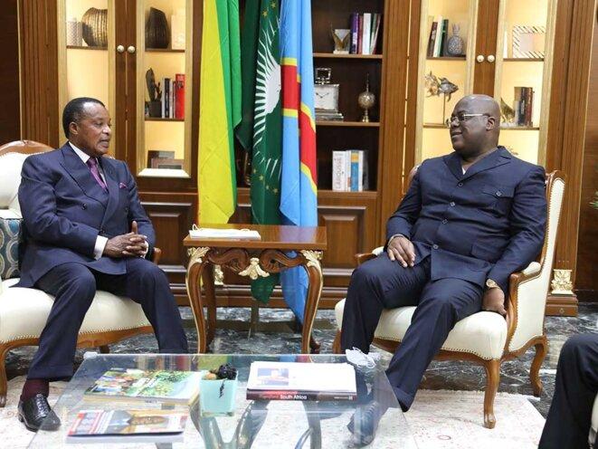 Denis SASSOU Nguesso chez Félix Antoine Tshisekedi le 15 mai 2021 à Kinshasa