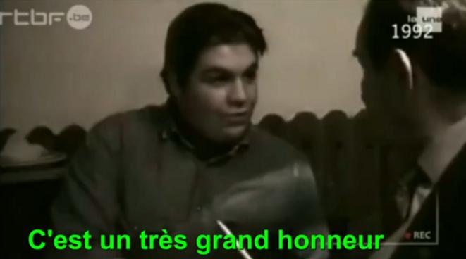 Axel Loustau, filmé en 1992, à l'occasion d'une rencontre avec Léon Degrelle, ancien de la Waffen-SS