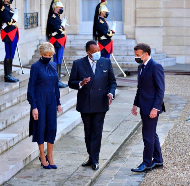 Denis SASSOU Nguesso reçu par le couple Macron à l'Élysée le 17 mai 2021