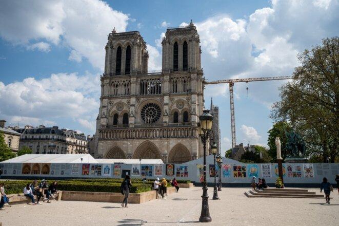 Le parvis de Notre-Dame de Paris, en avril. © Riccardo Milani / Hans Lucas via AFP