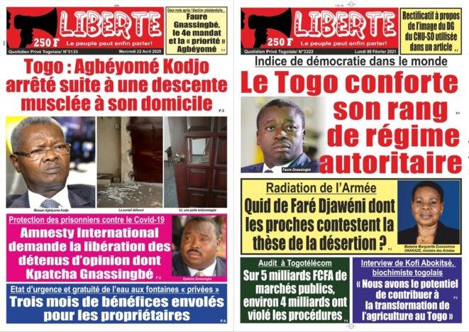 La une du quotidien Liberté du 22 avril 2020 reprend un communiqué d'Amnesty International qui demande la libération des détenus d'opinion, dont Kpatcha Gnassingbé