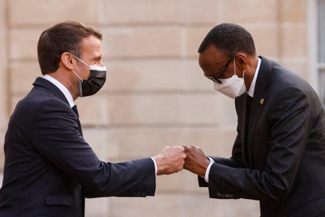 Rencontre entre les chefs d'États français et rwandais, le 17 mai 2021, à Paris. © Ludovic Marin / AFP