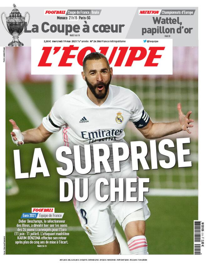La une de L'Équipe, le 19 mai 2021. © L'Équipe