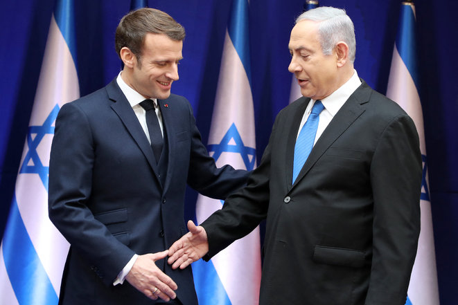 Emmanuel Macron et Benjamin Netanyahu. © Ludovic Marin/AFP