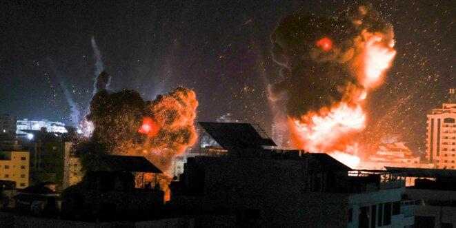 Bombardements des forces israéliennes sur Gaza, le 18 mai. © AFP